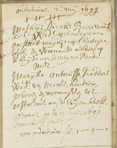 Trouwakte 1699